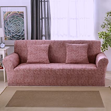 Funda elástica protectora y antideslizante de poliéster para sillones de 1, 2, 3 o 4 plazas, Red Brown, 3 Seater:195-230cm