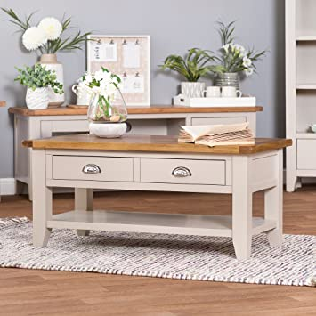 The Furniture Outlet Chester Grey Painted Oak Coffee Table Drawers