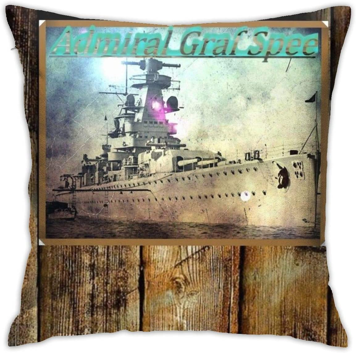 Lhgs5sv Admiral GRAF Spee Both Sides Throw Pillow Covers Cotton Home Decor Sofa Square Cushion Cover Pillow Case 18x18 in