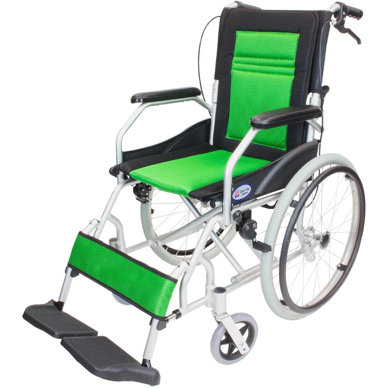 ケアテックジャパン 軽量 自走式アルミ製車椅子 CA-12SU ハピネスライト (グリーン) B01MR8XSBJ グリーン グリーン