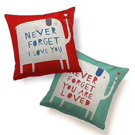 Amazon.com: Juego de 2 fundas de almohada para pareja con ...