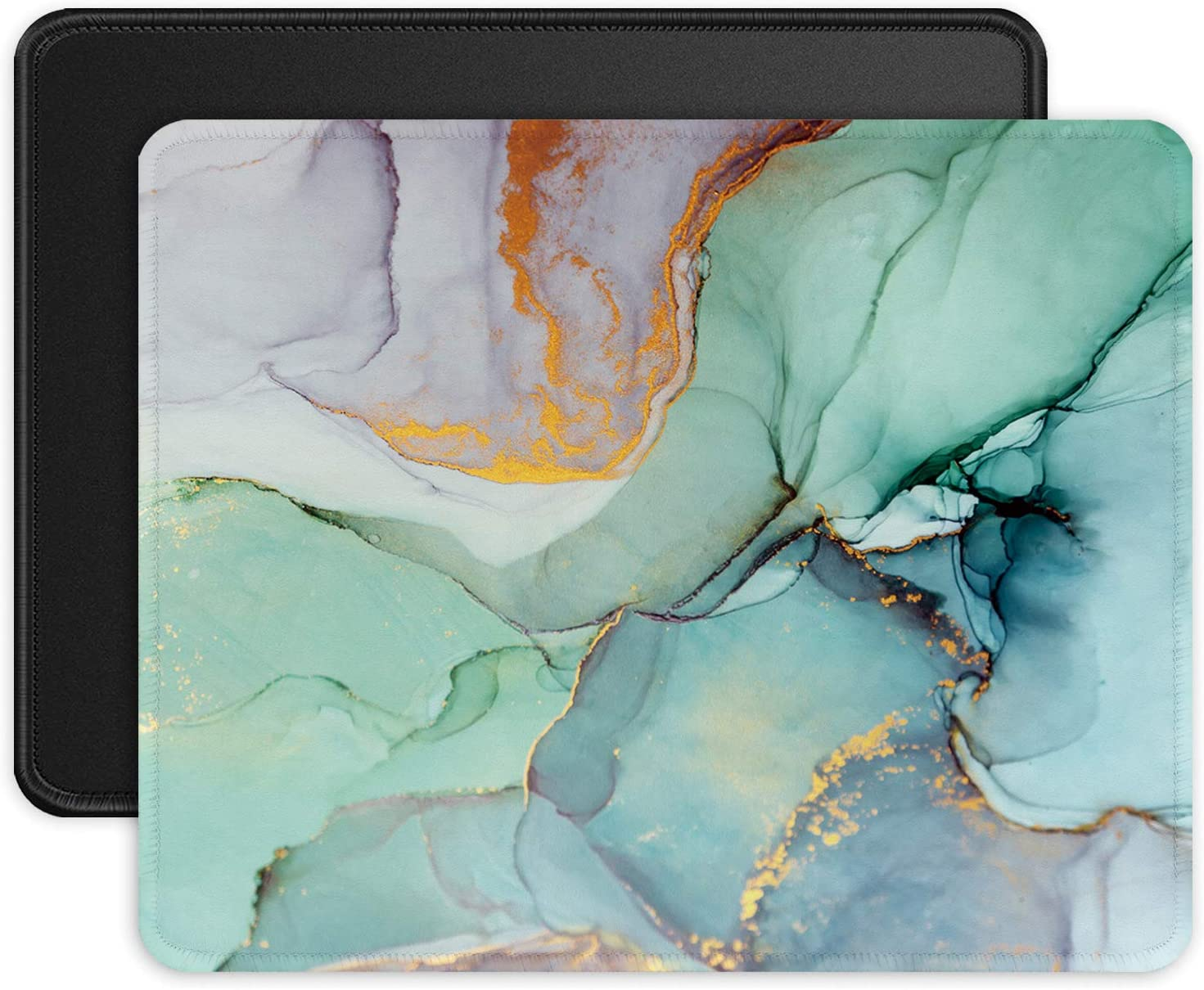 ITNRSIIET Mouse Pads [2-Pack] with Stitched Edges, Premium-Textured Mouse Mat Pad for Women, Non-Slip Rubber Base Mousepad for Laptop, Computer & PC, 10.2×8.3×0.12 inches, Modern Marbling + Black
