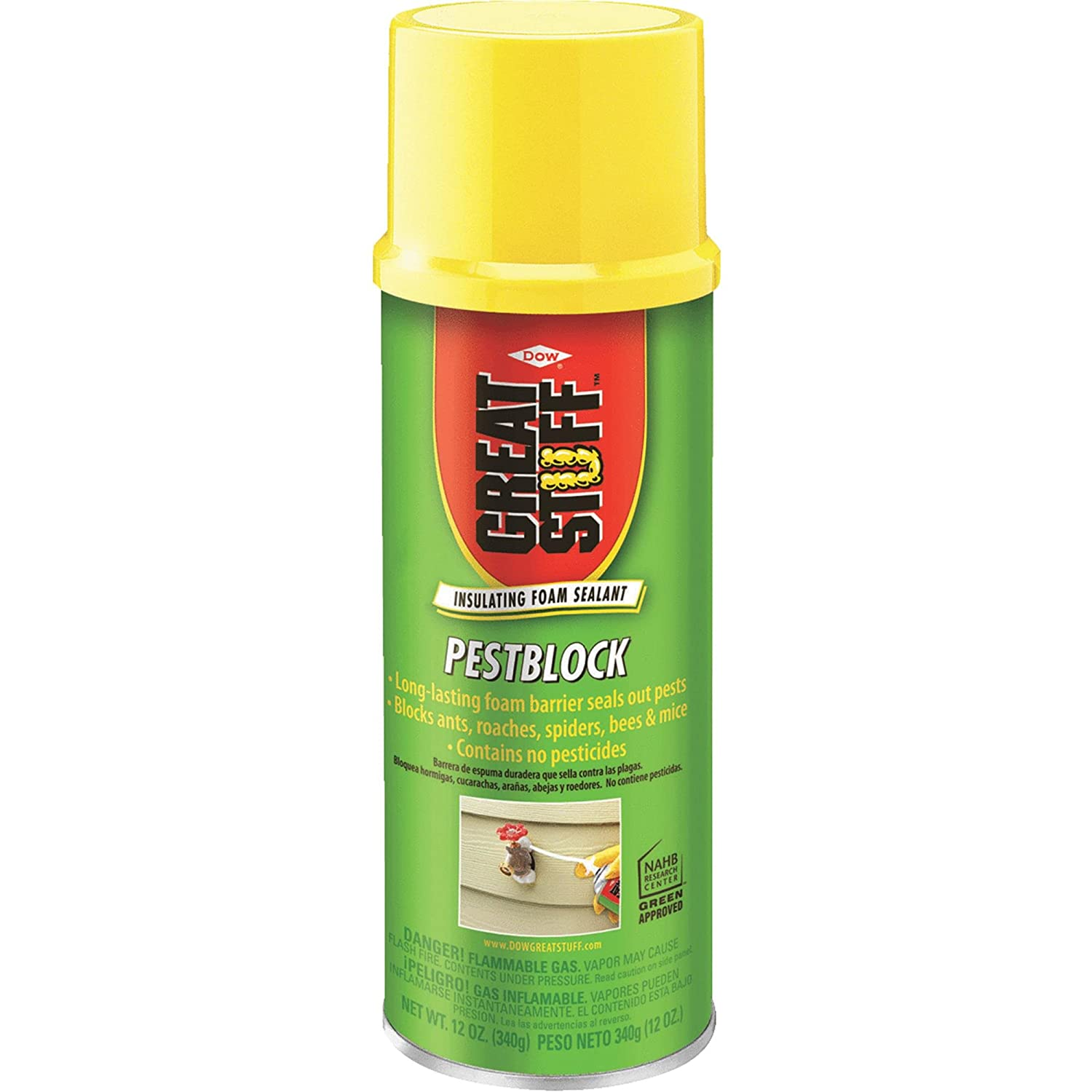 Great Stuff Spray Foam Sealant, Gray, 12 oz, Pest Block , Pack of 2