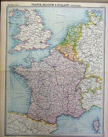 Karte Von Holland Und Belgien.Politische Karte 1920 Frankreichs Belgien Holland Amazon De