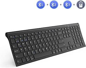 Multi-Device Wireless Bluetooth Keyboard, Jelly Comb Full Size Ultra Slim Rechargeable Wireless Bluetooth Keyboard Compatible for iPad, iPad Pro, iPhone, Android Tablets, Windows, iOS, Mac OS