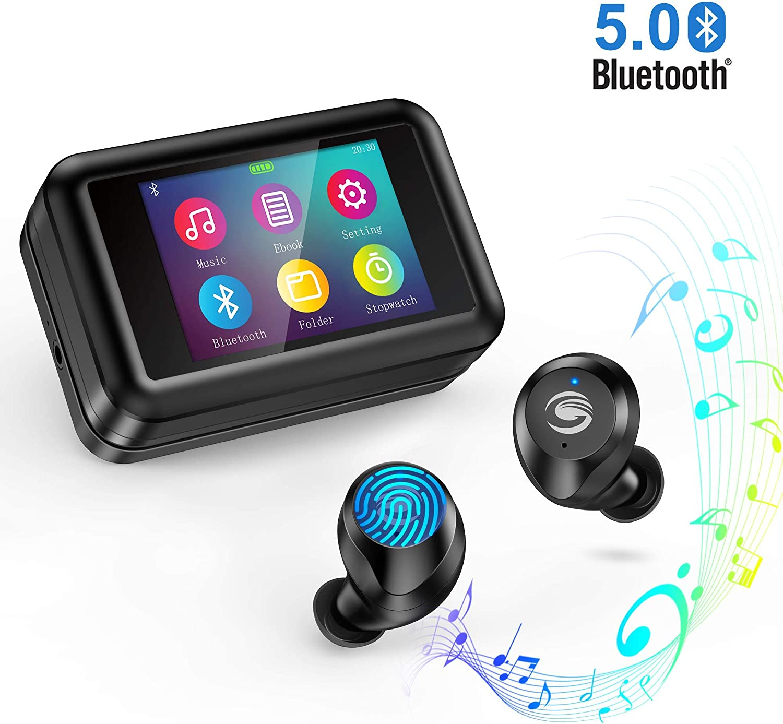Auriculares inalámbricos Bluetooth 5.0 con Reproductor de MP3 multifunción, Pantalla táctil LCD de 2.0
