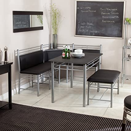 Breakfast Nook - Black Family Diner 3 Piece Corner Dining Set - Enjoy the Best Kitchen : nook kitchen table set - Pezcame.Com