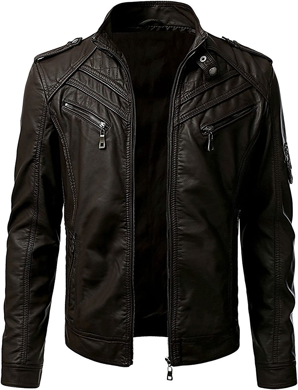 Vintage Biker Slim Fit Cafe Racer Men Motorcycle Retro Black//Brown Leather Jacket