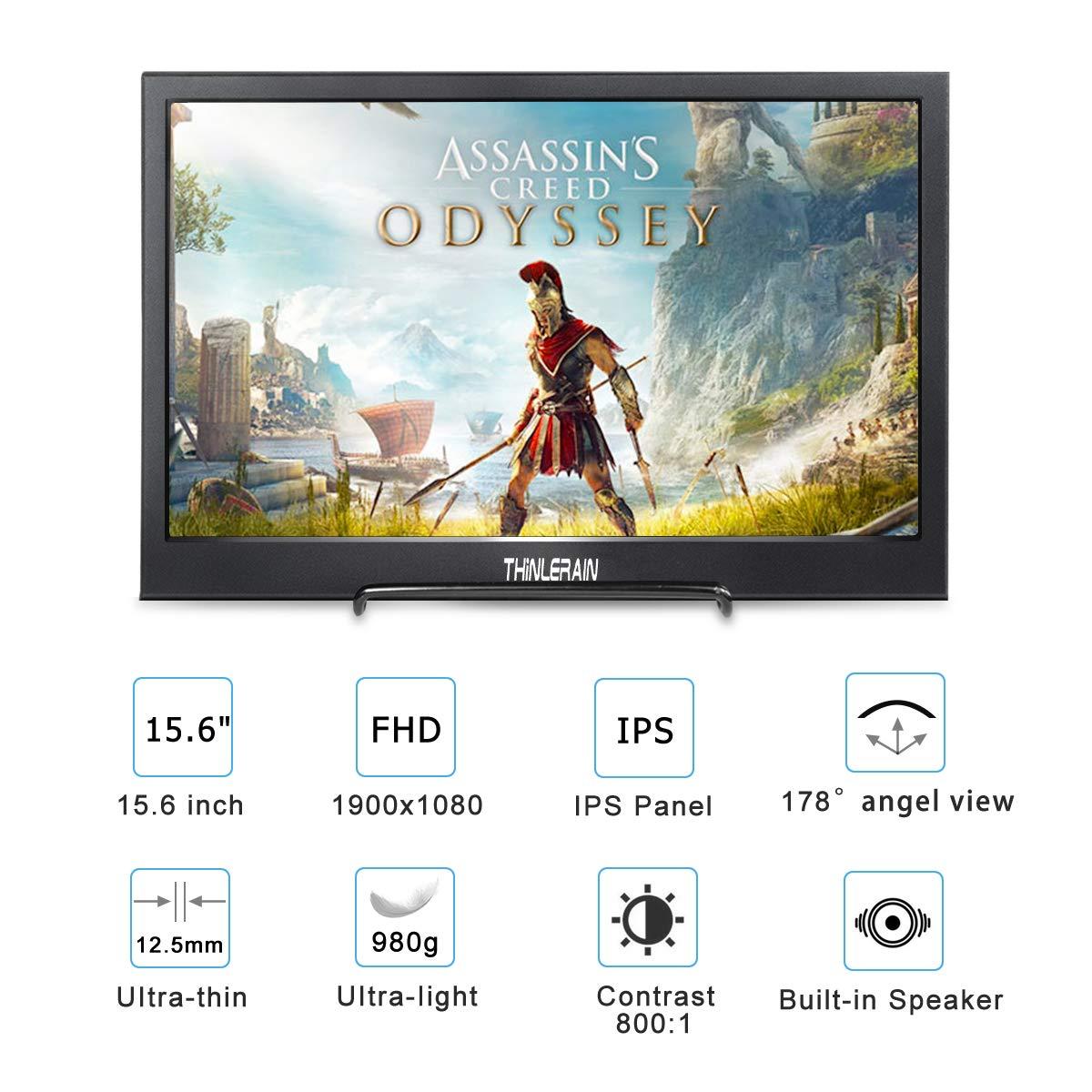 15,6 Pulgadas Monitor Portatil USB C 1920 x 1080 IPS FHD Display con HDMI y Type c para PS3 PS4 Xbox360 Ordenador Port/átil Macbook Smartphone Windows 7//8//10 Macos,Thinlerain