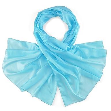 Allée du foulard Etole soie bleu turquoise  Amazon.fr  Vêtements et ... 6298ce9e77e