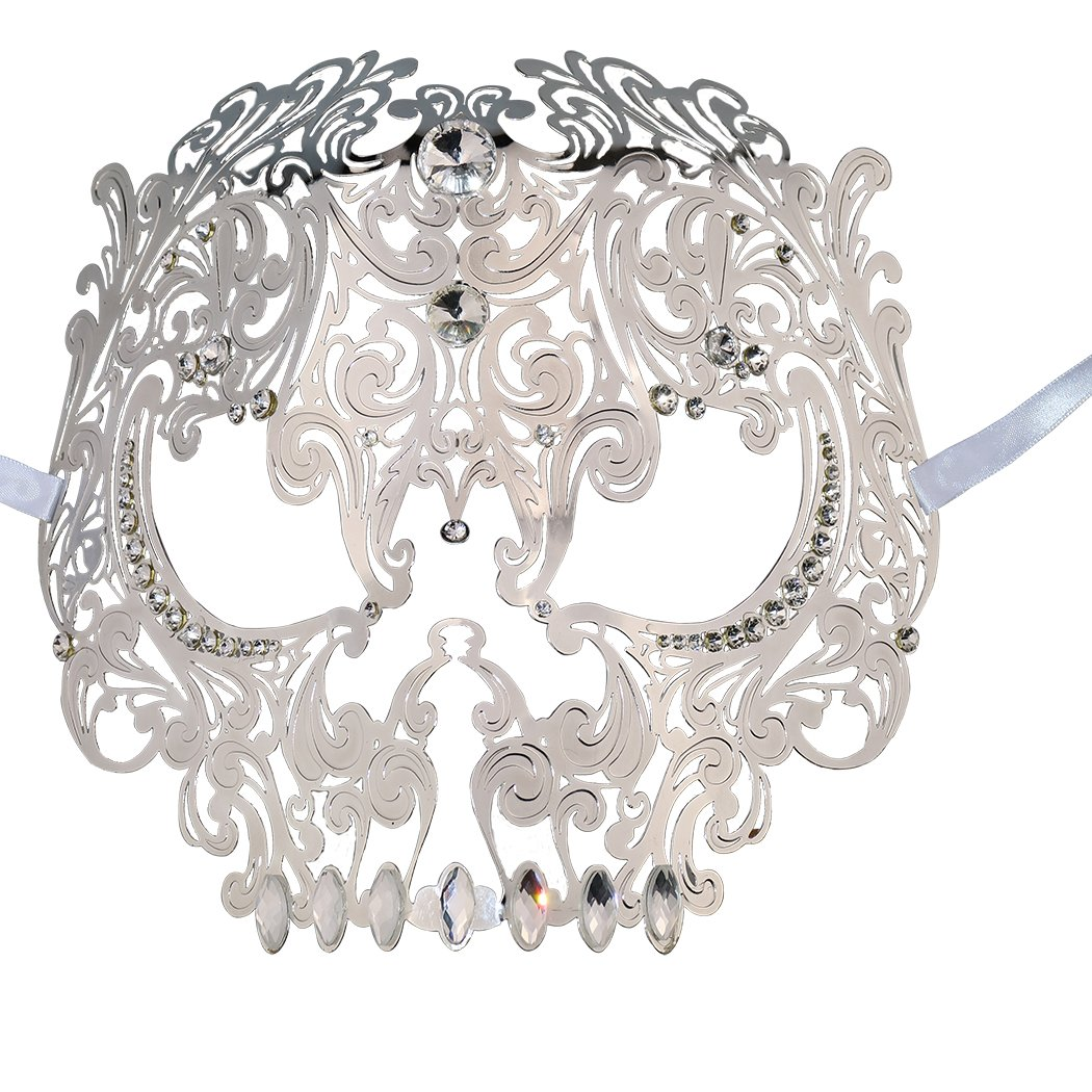 Skull Face Masquerade Masks Mardi Gras Party Mask with Rhinestones (White)