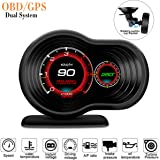 HUD Lion Power Performance Universal Head Up Display Made in USA with Digital Multi Function and Multi Alarm Setting Include Brake Test and More