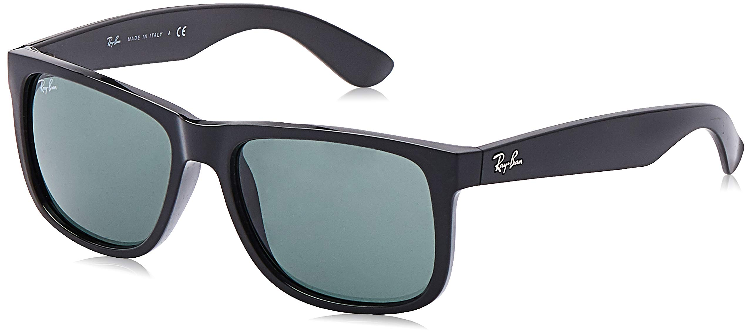RAY-BAN RB4165 Justin Rectangular Sunglasses, Black/Green, 55 mm by RAY-BAN