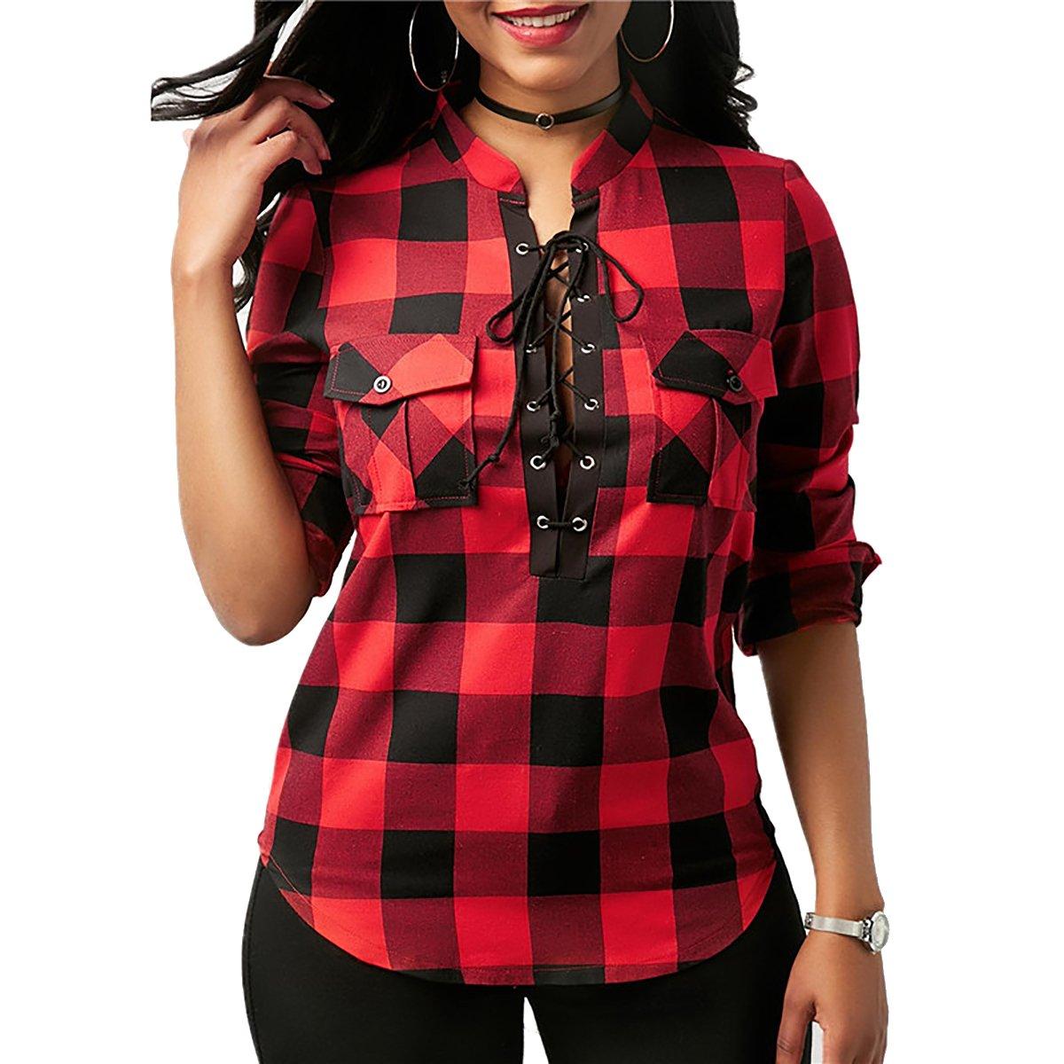 YF Women Long Sleeve Lace up Plaid Shirt Tuic Causal Loose Tops Yin Feng YF113436B