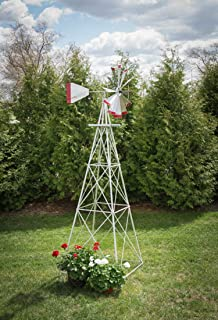 product image for 10 Ft Made in The USA Premium Aluminum Decorative Garden Windmill Green/Yellow Trim