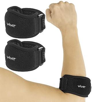 Vive Tennis Elbow Brace (Pair) - Rheumatoid Arthritis Strap for Bursitis, Golfers,