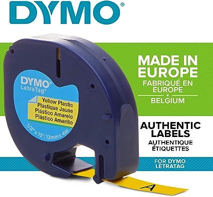 stampa nera su blu rotolo da 12 mm x 4 m S0721650 Dymo LetraTag etichette in plastica
