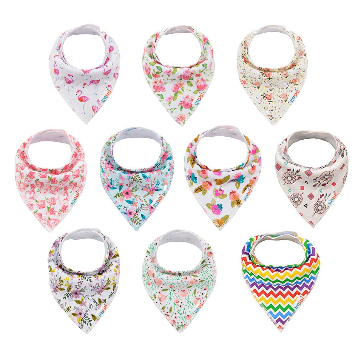 ALVABABY Baby Drool Bandana Bibs for Girls Resuable Adjstable 10 Pack Super Absorbent Baby Bibs Gift Settings 10SD01-CA