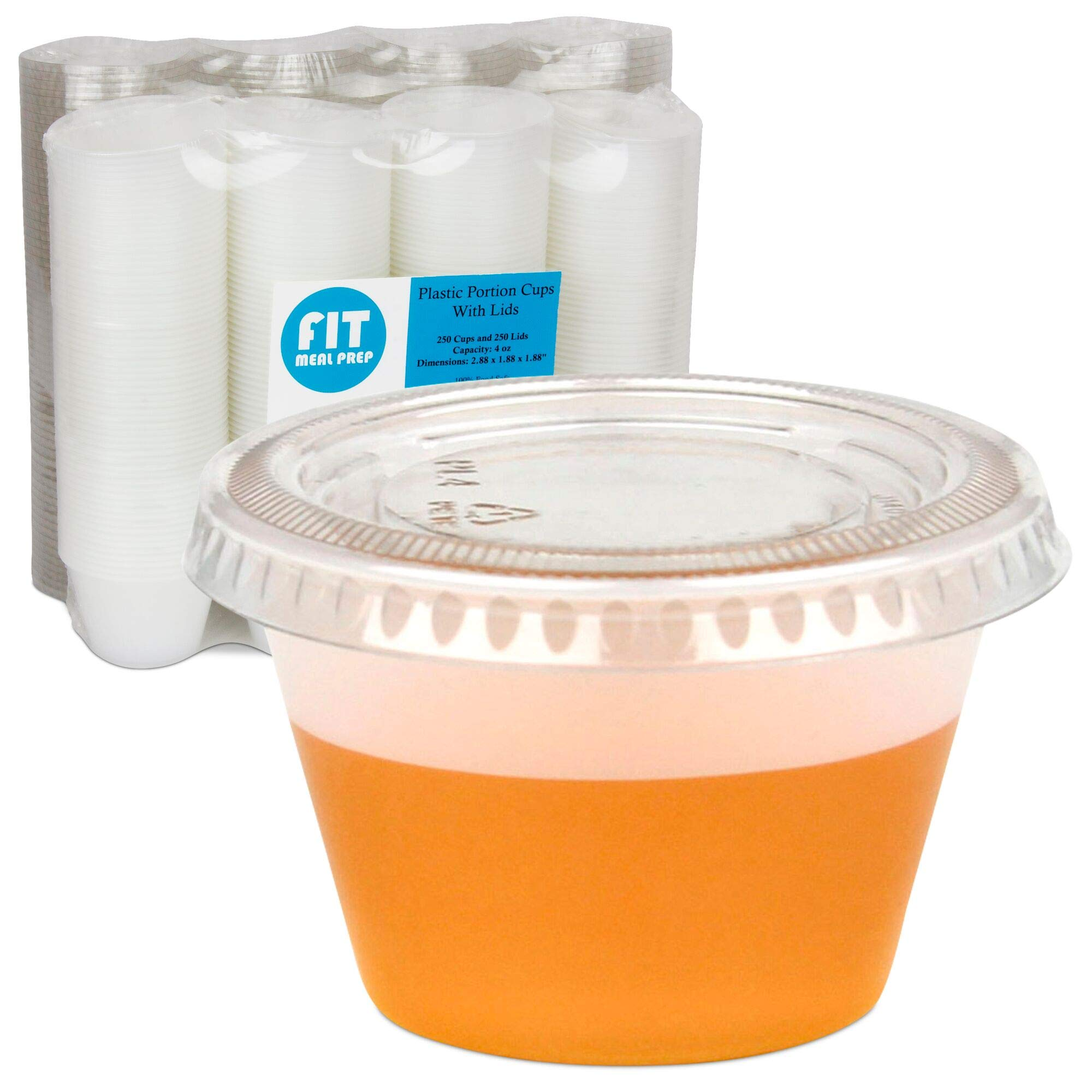 [250 Pack] 4 Ounce BPA-Free Plastic Portion Cup with Clear Lids Disposable Jello Shots Sauce Condiment Souffle Dressing Mini Containers by Fit Meal Prep