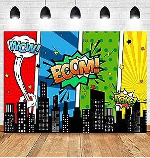 Amazon.com: Superhéroe Cityscape Kit de fondo de fotografía ...