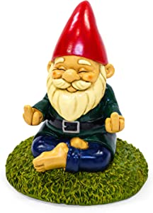 KwirkWorks Garden Gnome - Meditation Namaste Middle Finger Lawn Statue Figurine - 9 inches Tall