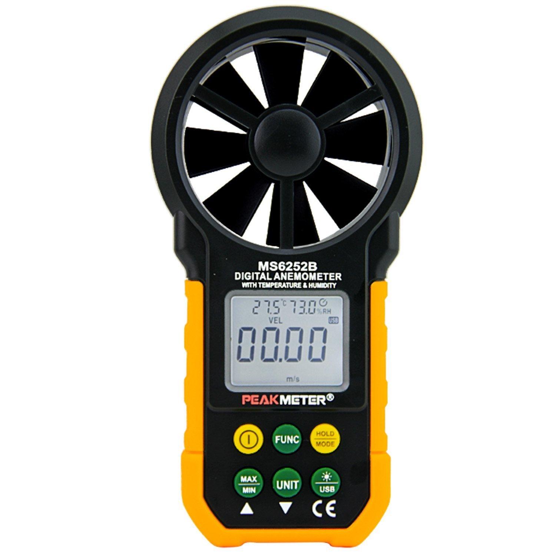 Wonderful LCD Digital Anemometer Wind Speed Air Volume Measurement USB Data uploading Air Humidity Flow Meter Anemometer MS6252B