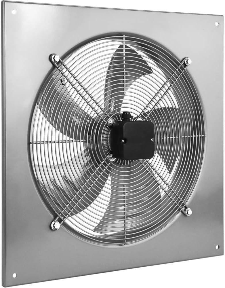 PrimeMatik - Extractor de Aire de Pared, de 400 mm para ventilación Industrial 1360 RPM Cuadrado 540x540x80 mm Plateado