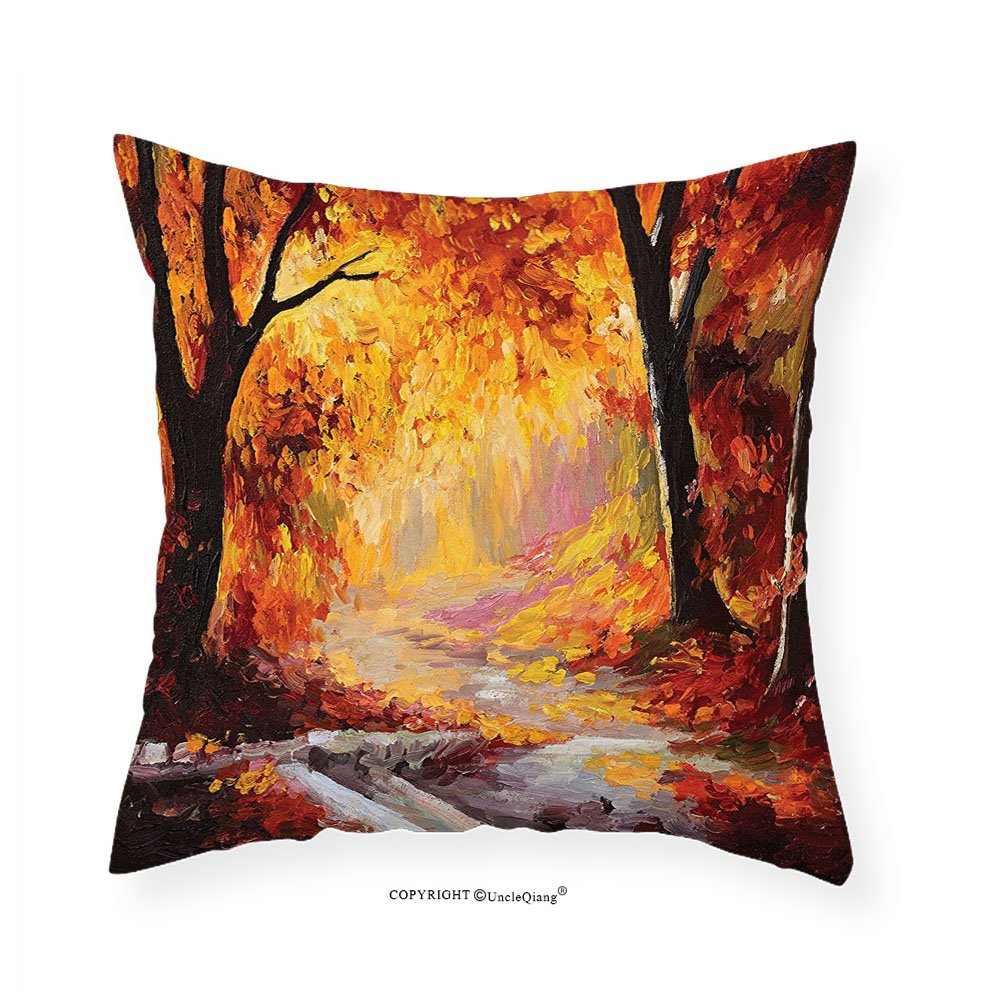 VROSELV Custom Cotton Linen Pillowcase Country Decor Elegant Paint of a Forest with Autumn Color Leaves Fall Time Sadness Season Theme Art Bedroom Living Room Dorm Decor Orange Brown 16''x16''