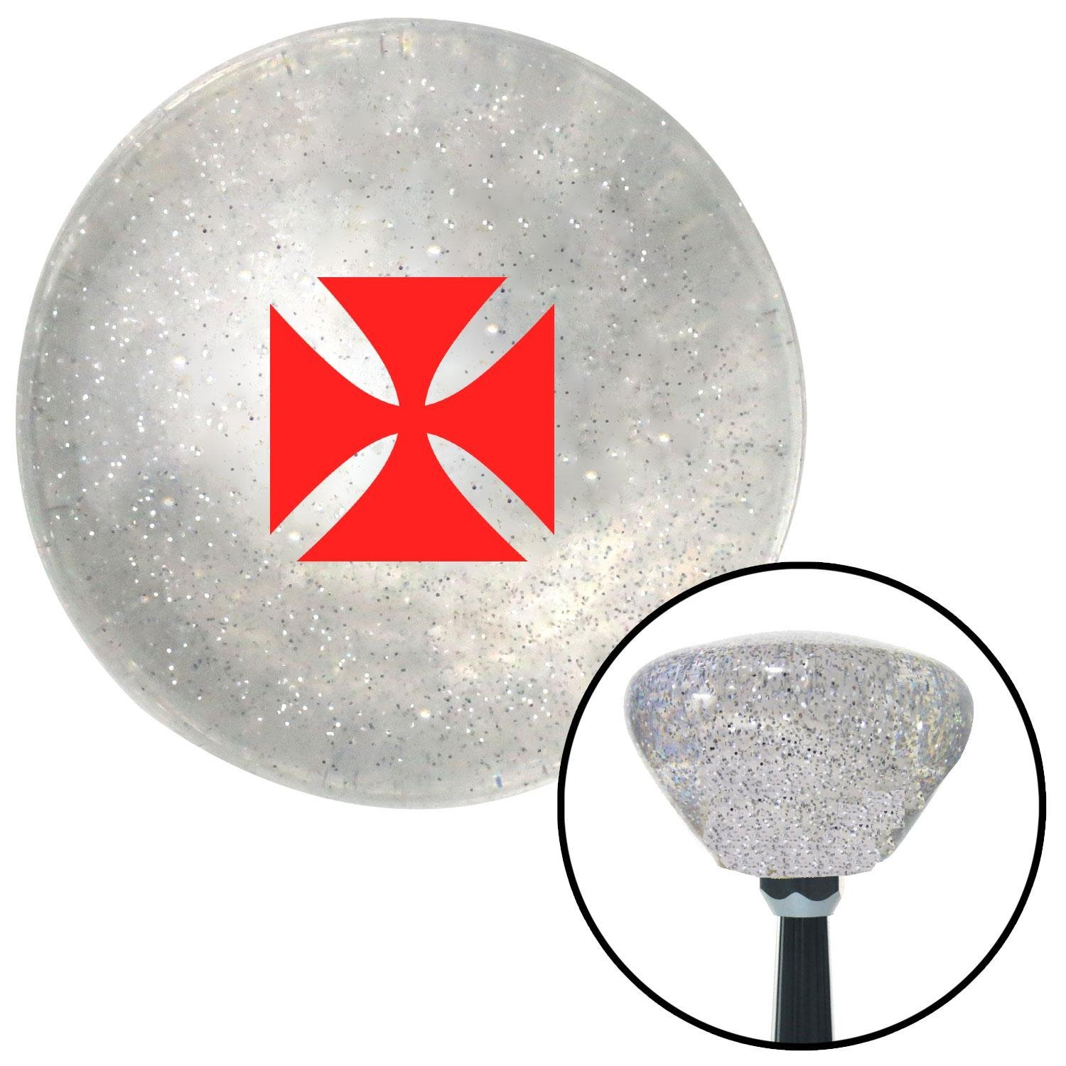 Red Cross Maltese Clear Retro Metal Flake with M16 x 1.5 Insert American Shifter 285737 Shift Knob