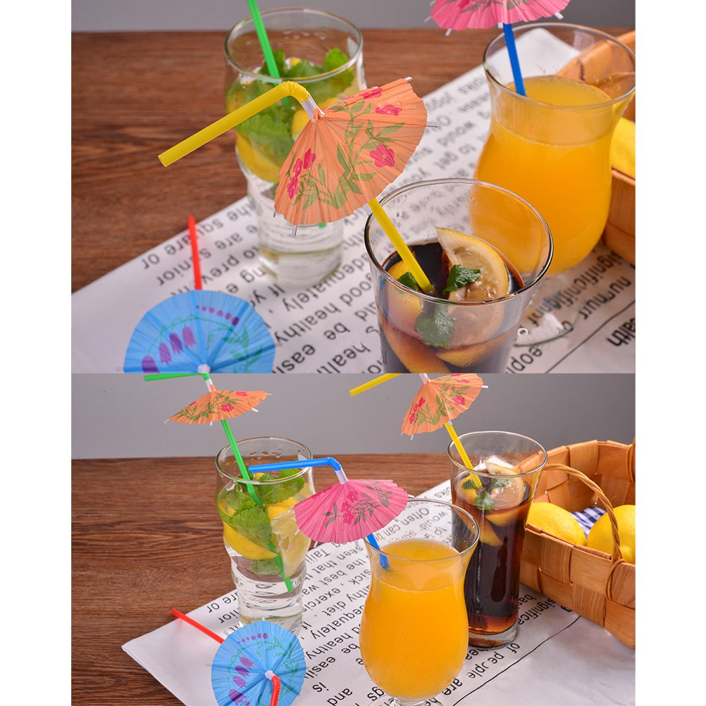 DINGJIN 162 Pieces Party Drinking Straws Umbrella Flamingo Fruit Drinking Straws for Luau Parties,Island Themed Party,Bars,Kitchen Supplies,Restaurants