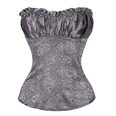 ef14cd71b DAMENGXIANG Silver Corset Tops 6XL Floral Corset Waist Trainer Bustiers Top Satin  Lingerie Over Bust Silver Plus Size Korsett Women  Amazon.co.uk  Clothing