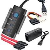 "iKKEGOL USB 2.0 to IDE SATA PATA 2.5"" 3.5"" Inch Internal HDD Hard Disk Driver Converter Adapter Cable CD/DVD-ROM, CD-R/RW, Combo with Power Adapter 1 Year Warranty"