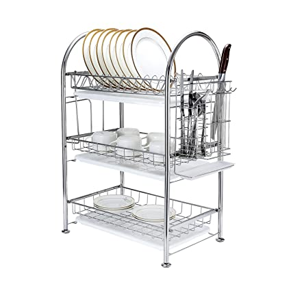 Amazon Com 3 Tier Dish Drying Rack Dish Drainer Kitchen Storage