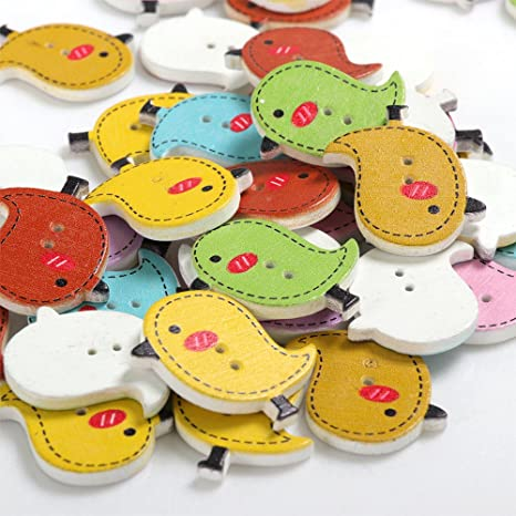 100x Bird Shape 2-holes Wooden Buttons for Kid Craft Scrapbooking Decoration