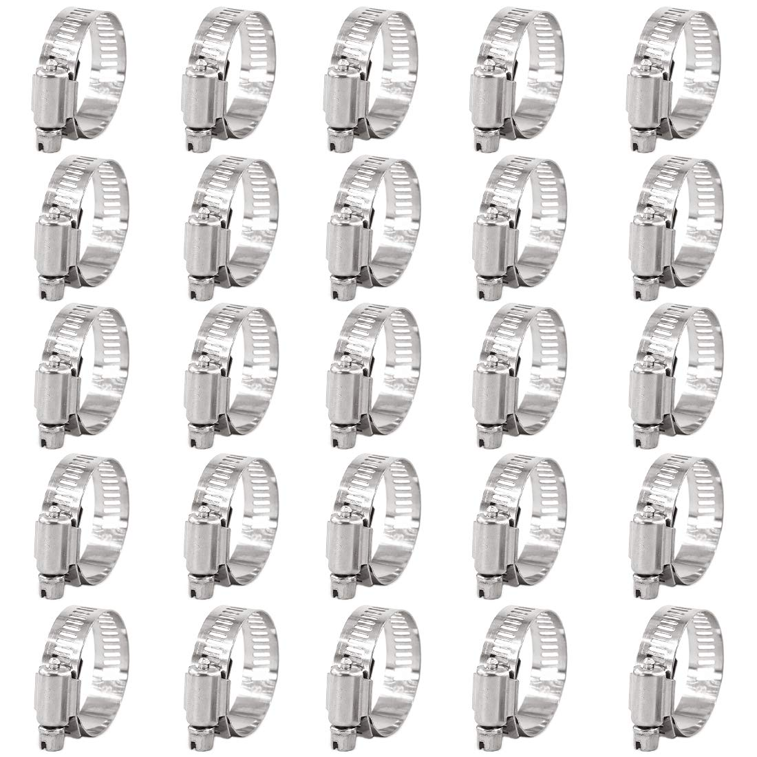 Keadic 25Pcs Adjustable Fuel Line Clips Worm Gear Hose Clamp Assortment Kit for Various Pipes Automotive Mechanical Use 27-51mm 304 Stainless Steel