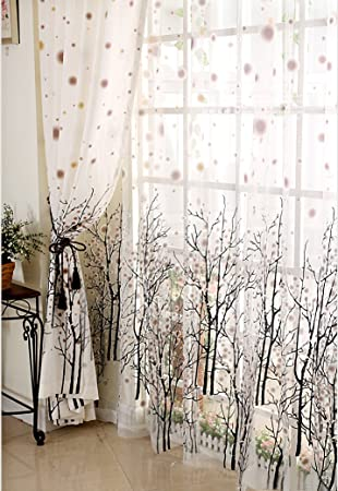 Charming Amazon.com: Elleweideco Modern Tree Branch Window Curtains/drape/panel And  Matching Sheer (Broown Green Dots, 52Wx84L Curtain): Home U0026 Kitchen