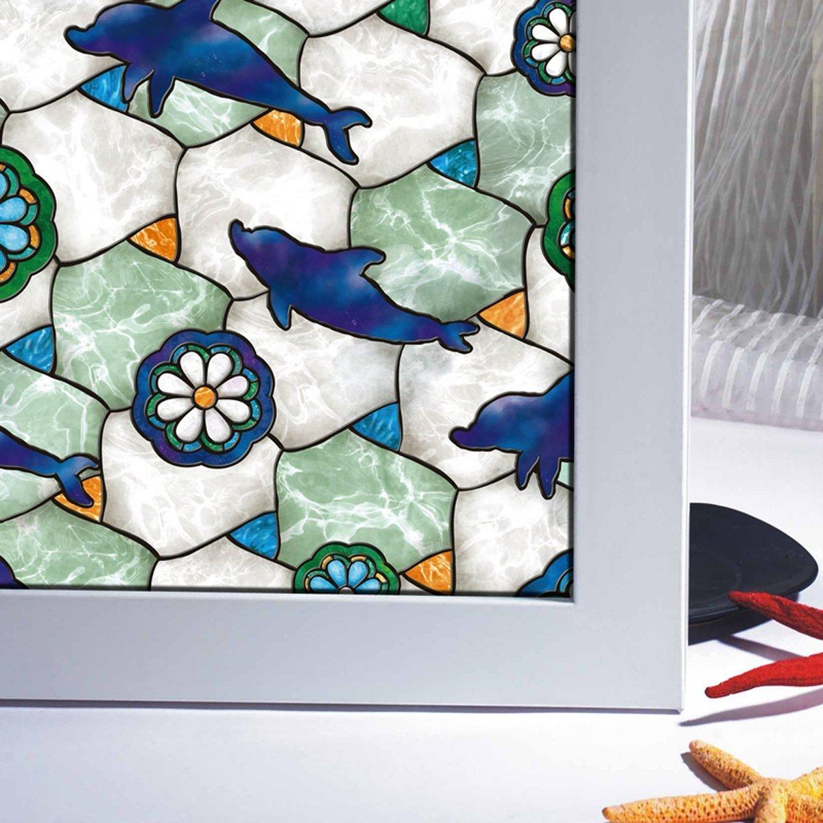 AAPLUS- 45 x 200CM Film vitre adhésif Autocollant fenêtre pour maison porte verre Stickers Électrostatique Sans Colle en PVC Anti regard Translucide & Occultant avec couleur océan bleu [Classe énergétique A+]