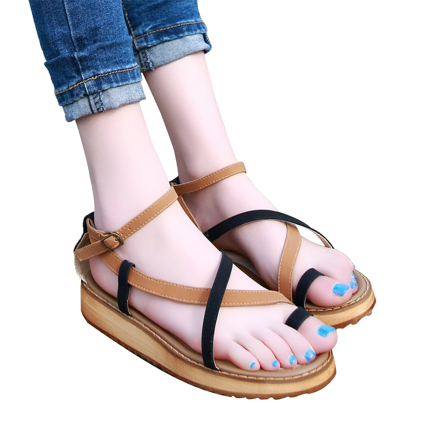 Smilun Ladys Roman Sandal Shoes Flat Cross Strappy Gladiator Wedge Sandals