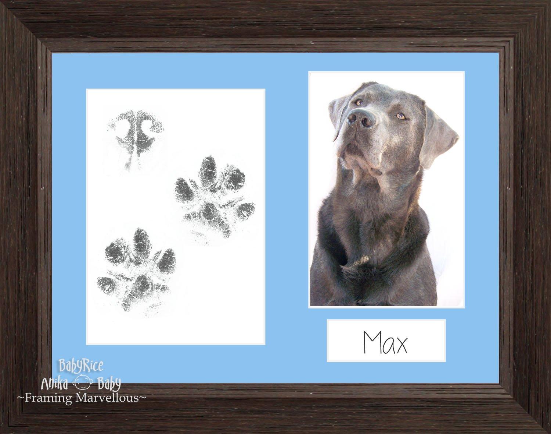 BabyRice Pet Paw Print Kit Dark Braun Holzmaserung Foto Bild Display ...