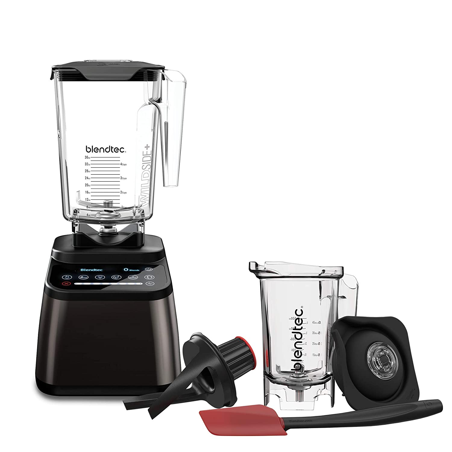 Blendtec Designer 725 Blender - WildSide+ Jar (90 oz)and Twister Jar (37 oz) BUNDLE - Professional-Grade Power - Self-Cleaning - 6 Pre-Programmed Cycles - 100-Speeds - Gunmetal/Black