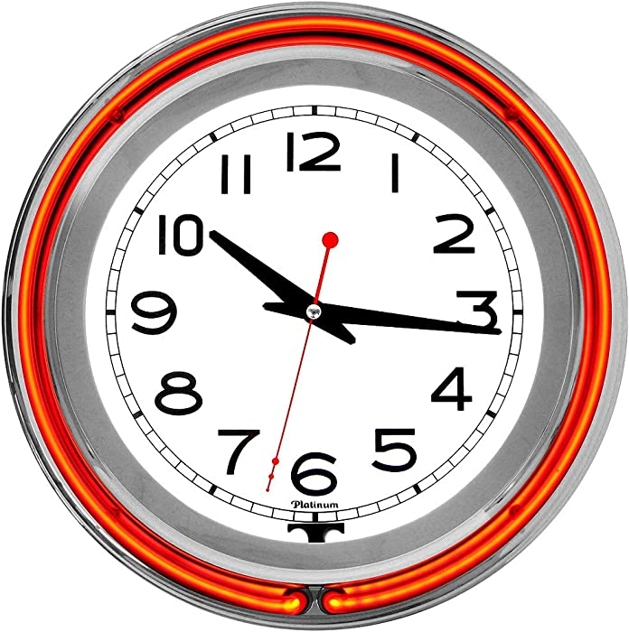 Trademark Home Collection 14 inch Double Ring Neon Clock Orange Outer White Inner