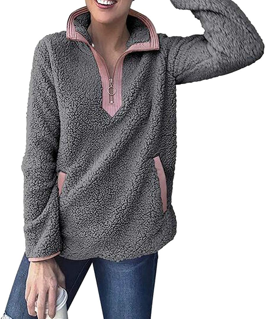 Suncolor8 Women Winter Lapel Sherpa Half Zipper Fuzzy Pullover Sweatshirt Coat Outerwear