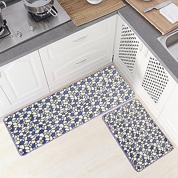 Ustide 2 Piece Blue Cobblestone Rug Bathroom Rug Set Memory Foam  Kitchen/Balcony Mats