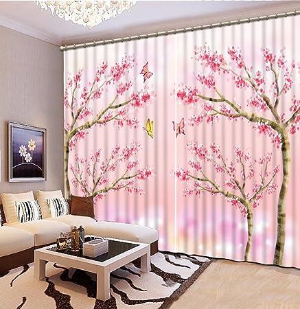 sproud Pink 3D Romantic Living Room Bedroom Tree Short Curtains ...