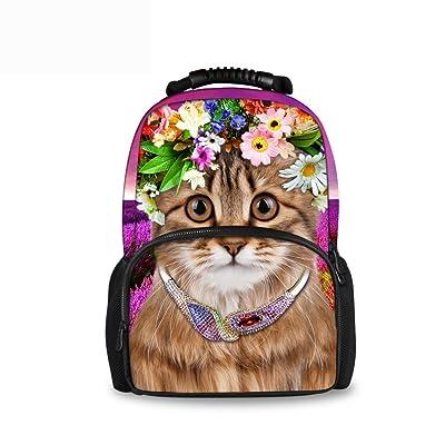 CHAQLIN Cute Cat Printing Backpacks Teenager Girls School Book Bag