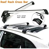 ROKIOTOEX Extendable Universal Shark Aluminum Alloy Roof Rack Crossbars for Outer Grooved Roof Rack Flush Rails - Silver and Black (SGCB9795)