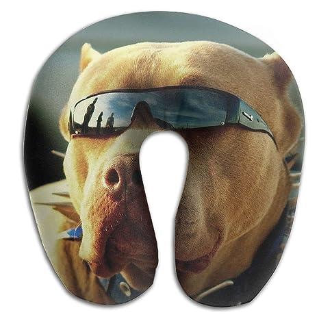 Creative camiseta de diseño de perros con gafas de Cool cómodo en forma de U cuello