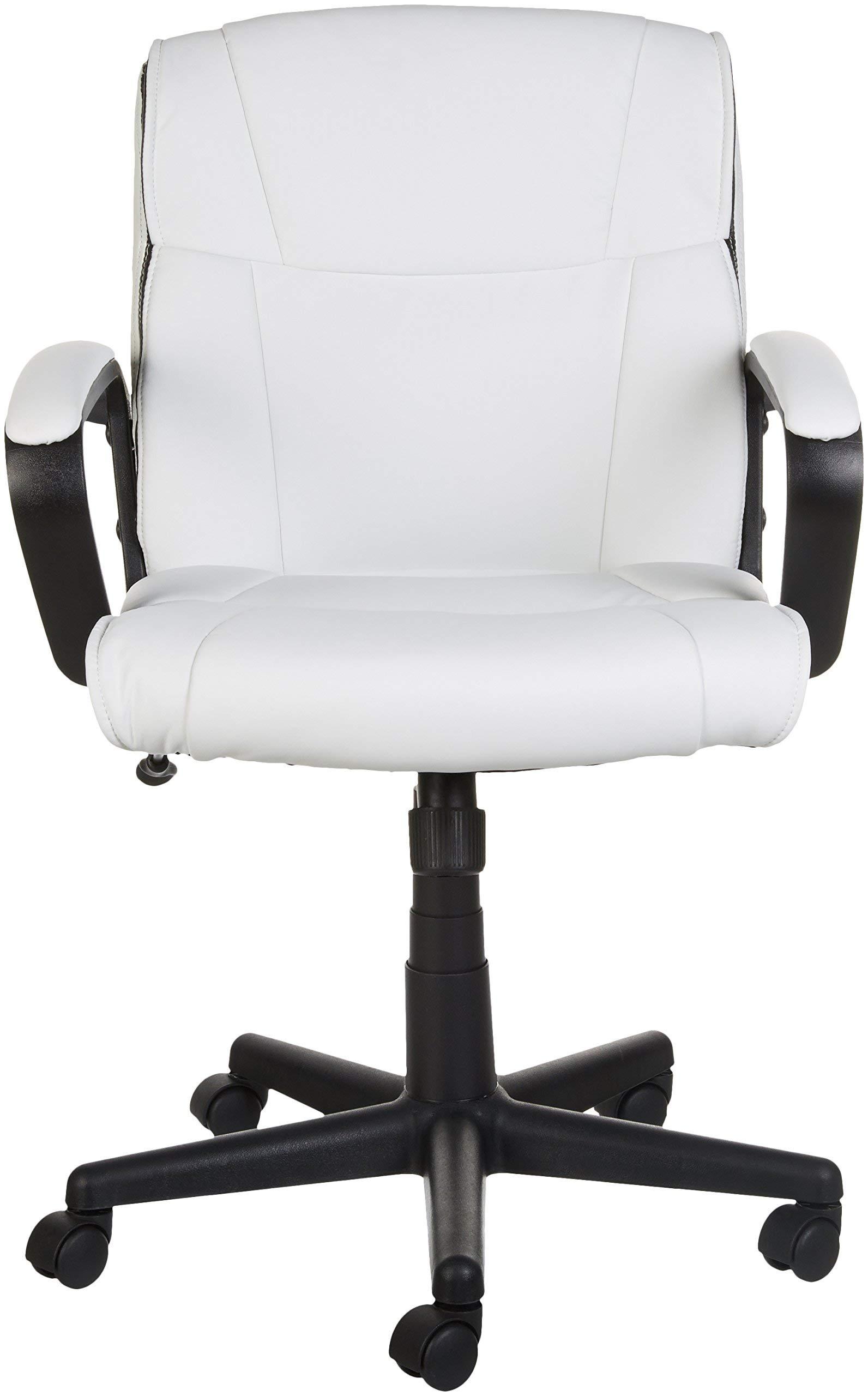 AmazonBasics Classic Leather-Padded Mid-Back Office Chair with Armrest - White by AmazonBasics (Image #3)