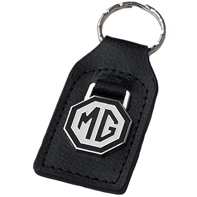 Triple-C MG (MGB) Black White Leather and Enamel Key Ring Key Fob: Automotive