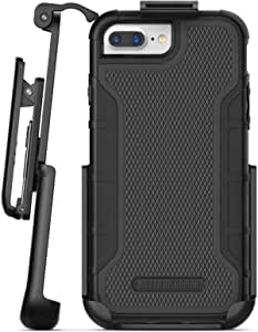 Encased iPhone 8 Plus Belt Clip Case with Built in Screen Protector (American Armor) Heavy Duty Full Body Rugged Cover with Holster (Black)
